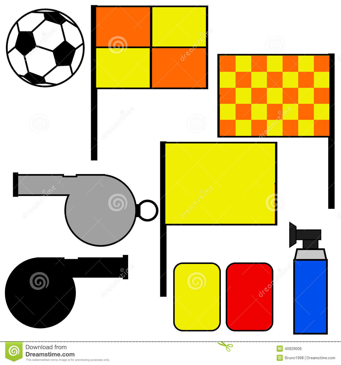 soccer referee tools cartoon illustration showing commonly used referees 40929006