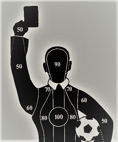 Target practice board in the shape of a football referee.